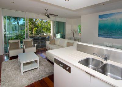2 Bedroom Pool View Kitchen / Living Room